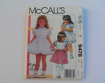 Vintage McCalls Pattern 9478 Ruffles Lace Child Dress and Vest