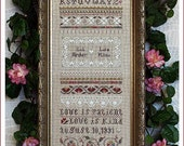 The Victoria Sampler, Love is Patient... Cross Stitch Chart, Sampler