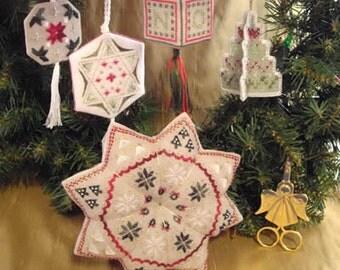 Wendy KC Designs, Christmas Potpourri, Cross Stitch Chart, Ornaments and Tuffet Patterns