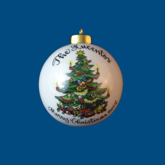 Personalized Hand Painted Christmas Ornament With Holiday Tree