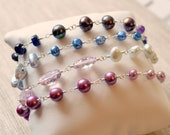 Long Gemstone Necklace, Freshwater Pearl, Purple Lavender, Blue Topaz, Pink Amethyst, Bridal Jewelry - Changing Winter - Free Shipping