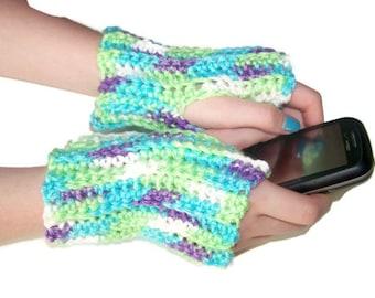 Short Fingerless Gloves - Arm Gloves - Crochet - Turquoise, Purple, Green - Cotton/Acrylic Blend