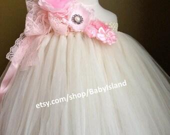 Flower girl tutu dress,1st Birthday tutu dress, lilac wedding, ivory wedding, pink wedding, aqua wedding, all size newborn-8yr, 15% Discount