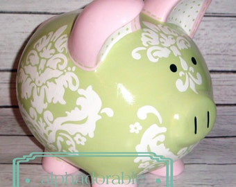 Personalized Piggy Bank, Green white and pink damask, Artisan hand painted ceramic piggy bank , Kate design