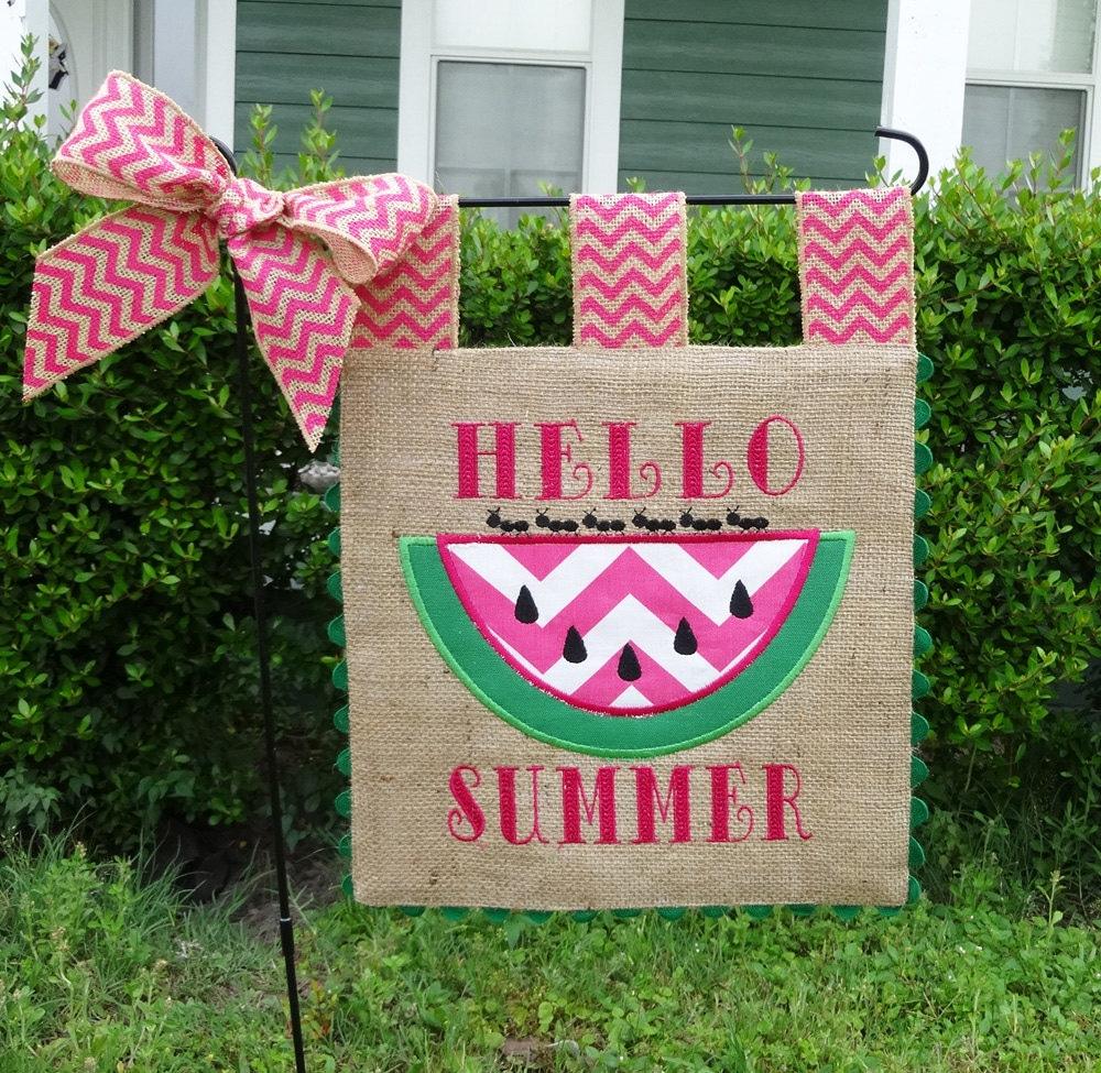 Custom Burlap Garden Flag Hello Summer Embroidery Applique