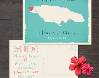Destination wedding invitation Jamaica  Save the Date Postcard Beach destination wedding Printed Wedding Stationary