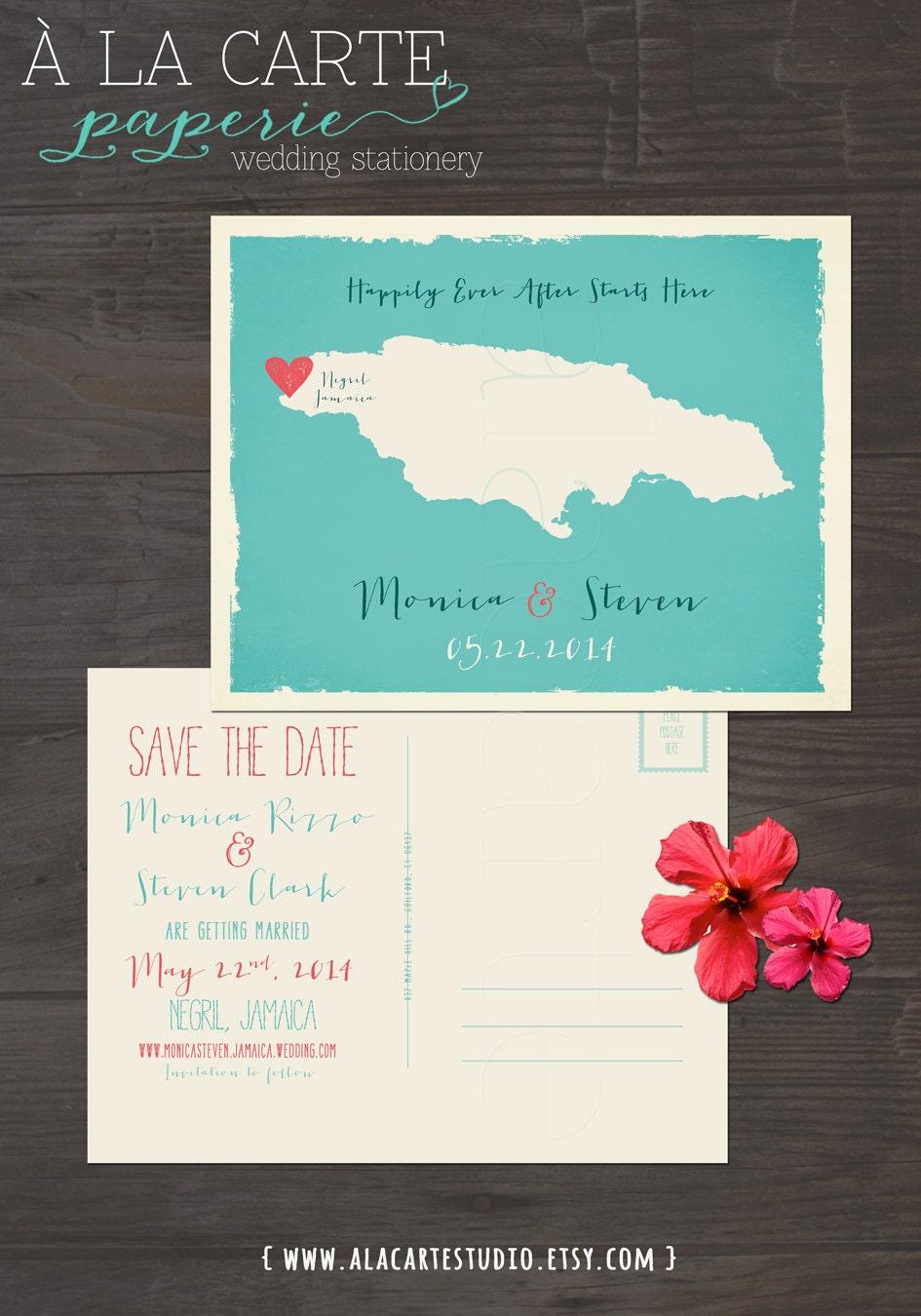 destination wedding invitation jamaica save the date postcard