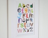 Animal Alphabet Themed Nursery Print - Baby ABC - Modern Children's Educational Art Poster A4, A3, A2, A1, 8 x 10, 11 x 14 Large Supersize