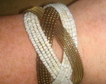 Vintage Gold and White Design Beaded Cuff Bracelet