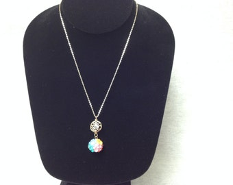 Vintage Costume Gold Tone Necklace with a Vivid and Colorful Ball Pendant