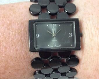 Vintage New York and Company Black Enameled Wrist Watch
