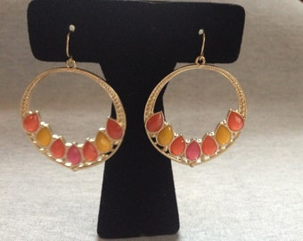 Vintage Costume Goldtone Pink, Orange, and Yellow Inset Plastic Gem Dangle Earrings