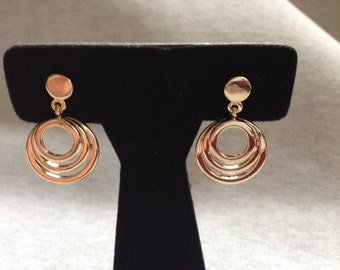 Vintage Costume Goldtone Circular Design Earrings