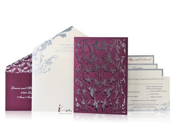 Custom Luxury Invitations- Cutom Die Cut Wedding Invitations  -  Custom Laser cut Invitation - Metallic Invitations - InviteCouture