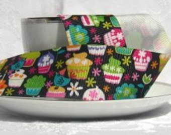 Mulit Colored Cupcakes on Black Grograin Ribbon 1.5' Wide -1 yard
