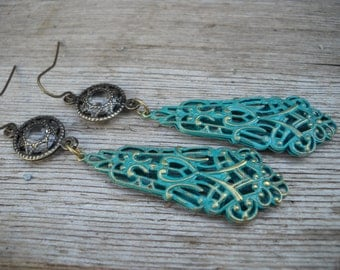 Patina Lace Dangle Earrings/Victorian/Edwardian/Wedding