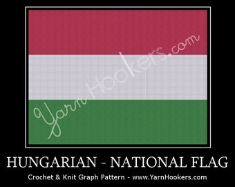 Hungarian National Flag - Afghan Crochet Graph Pattern Chart by Yarn Hookers