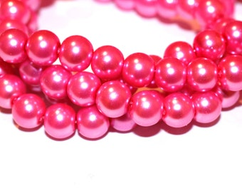 80pc Pink loose beads/Glass Beads/ Bracelet beads / Necklace Beads/8mm