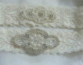 Ivory Lace Wedding Set, Wedding Garter,Garter Set,Ivory Garter, Pearl And Rhinestone Garter