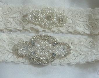Ivory Lace Wedding Set, Wedding Garter,Garter Set,Ivory Garter, Pearl /Rhinestone Embellishment Garter,Garter Set,Garters,bridal garter set