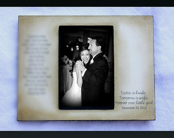 Father Daughter Rustic Distressed Gift Personalized Father of the Bride Wedding Picture Frame4X6 OR 5X7Keepsake