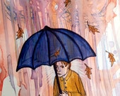 Rainy day original drawing. Watercolor rain with figure drawing in archival India inks on archival white paper.