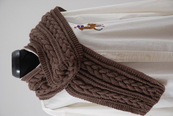 Knitting Mens Scarves : Hand knit long mens scarf wool luxe men brown by