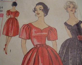 Vintage 1960's Simplicity 3212 Dress Sewing Pattern, Size 14, Bust 34