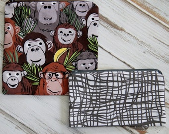 Monkey Print Reusable Sandwich and Snack Bag Set with Zipper Closure