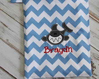 Shark Applique on  Personalized Wet Bag, You Choose the Colors
