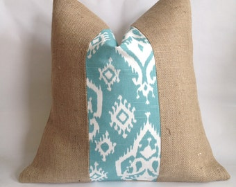 Turquoise and White Ikat Fabric and Natural Burlap Pillow Cover
