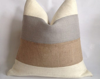 Cream, Light Gray And Natural Burlap Striped Pillow Cover