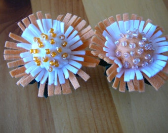 Orange and White Beaded Peg Doll Flower Fairy, Waldorf Inspired, Small Wool Felt Flower Fairy,