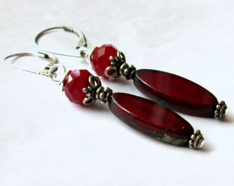 Red Beaded Earrings On Sterling Silver Leverbacks