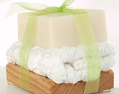 Baby's Cheeks Bath Set with Green Ribbon - Unscented Baby Soap, Hand-Crocheted 100% Cotton Wash Cloth, and Solid Oak Soap Deck