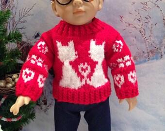 Red & White Valentine Cats Sweater