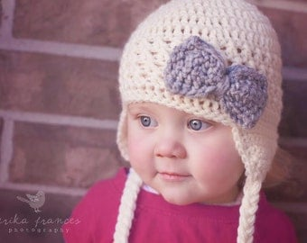 Cream Earflap Hat with Gray Bow, Little Girl Hat, Baby Girl Hat, Earflap Hat