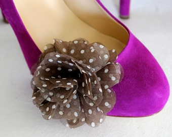 Chiffon Flower Shoe Clips – Light Brown with Cream Polka Dots