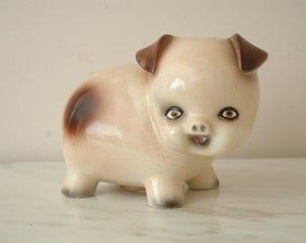 Mid Century Piggy Bank 1950s Ceramic Pig