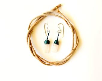 pink quartz earrings ·· everyday earrings ·· dangle earrings ·· turquoise wire earrings ·· wire wrap earrings ··