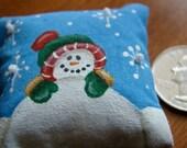 Snowball the Snowman Miniature Dollhouse Pillow