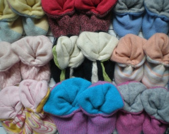 10 (ten) pair of cashmere PEAPOD booties slipper for babies, your choice of size and color!
