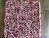 Handmade Crocheted Baby Photography Prop Blanket in Pink and Brown, soft vegan yarn