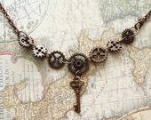 Copper Steampunk Gears Necklace