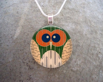 Owl Jewelry - Glass Pendant Necklace  - Owl 19
