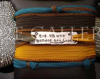 """D2E silk yoga wrap bracelet Tolkien Inspired """"Not All Who Wander Are Lost"""" hand stamped and  magnetic clasp"""