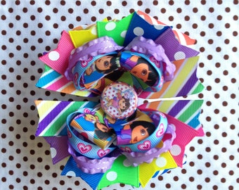 Ready To Ship Hairbow! Colorful Dora Hairbow, Dora And Boots Hairbow, Rainbow Chevron Hairbow, Polka Dot Boutique Hairbow