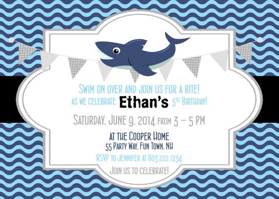 shark birthday invitation shark party invitation shark, Party invitations
