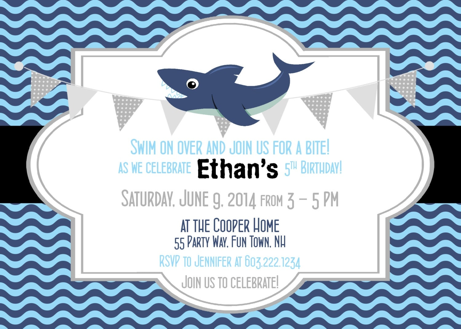 Shark Birthday Invitation Shark Party Invitation Shark