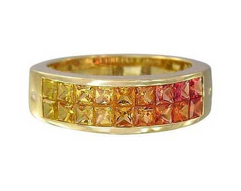 Multicolor Sunset Sapphire & Diamond Invisible Set Ring 14K Yellow Gold (2.02ct tw) : sku 1471-14k-yg